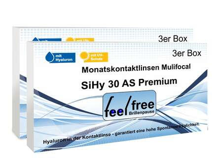 "Produktbild für ""1A - Feel free Brillenpause SiHy Hyaluron AS 6er Multifocal Mona"""