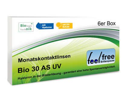 "Produktbild für ""1A - Feel free Brillenpause bio 30 AS UV 6er Kontaktlinsen"""