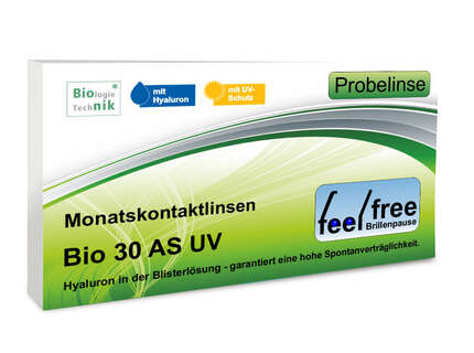 "Produktbild für ""1A - Feel free Brillenpause bio 30 AS UV Probekontaktlinse"""